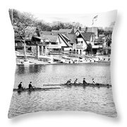 Rowing Along The Schuylkill River In Black And White Throw Pillow