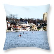 Rowing At Boathouse Row Throw Pillow