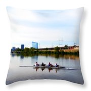 Rowing In Philadelphia Throw Pillow