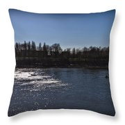 Rowing On Thames In Autumn Throw Pillow