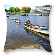Rowing On The River - Irish Art By Charlie Brock Throw Pillow