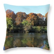Rowing On The River Thames At Hampton Court London Throw Pillow
