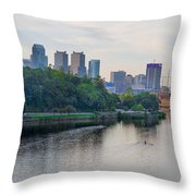 Rowing On The Schuylkill Riverwith Philadelphia Cityscape In Vie Throw Pillow