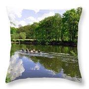 Rowing Practice - Near Branston Throw Pillow