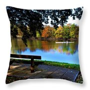 Rowing The River Itchen Throw Pillow
