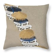 Rows Of Parasols On The Beach Of Throw Pillow