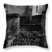 Rows Of Pot Plants Lined On The Steps Of A Garden Throw Pillow