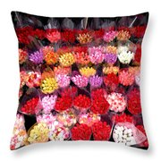 Rows Of Roses Throw Pillow