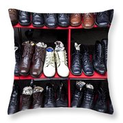 Rows Of Shoes Throw Pillow