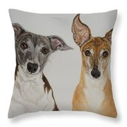 Roxie And Bruno The Greyhounds Throw Pillow