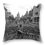 Roy And Minnie Mouse Black And White Magic Kingdom Walt Disney World Throw Pillow