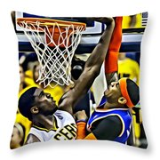 Roy Hibbert Vs Carmelo Anthony Throw Pillow by Florian Rodarte