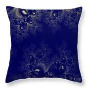 Royal Blue Frost Fractal Throw Pillow