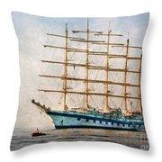 Royal Clipper On Amalfi Coast Throw Pillow
