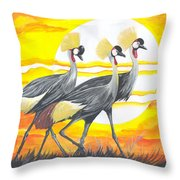 Royal Cranes From Rwanda Throw Pillow