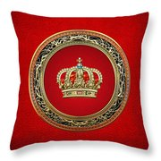 Royal Crown In Gold On Red  Throw Pillow