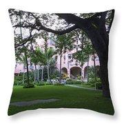 Royal Hawaiian Hotel Entrance Throw Pillow