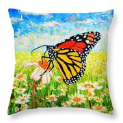 Royal Monarch Butterfly In Daisies Throw Pillow