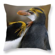 Royal Penguin Couple Courting Throw Pillow