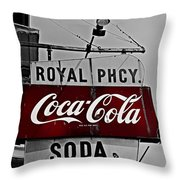 Royal Pharmacy Soda Throw Pillow by Andy Crawford