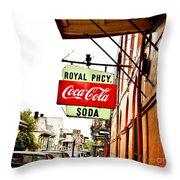 Royal Pharmacy Soda Sign Throw Pillow