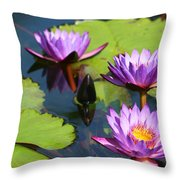 Royal Purple Water Lilies Throw Pillow