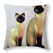 Royal Siamese - Ceramic Cats Throw Pillow
