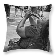 Royal Street Clarinet Player New Orleans Throw Pillow