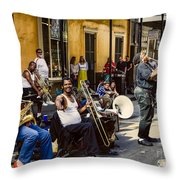 Royal Street Jazz Musicians Throw Pillow