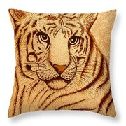 Royal Tiger Coffee Painting Throw Pillow