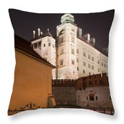 Royal Wawel Castle By Night In Krakow Throw Pillow