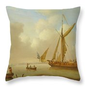 Royal Yacht Becalmed At Anchor Throw Pillow