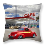 Roy's Gas Station - Route 66 Throw Pillow by Mike McGlothlen