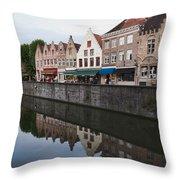 Rozenhoedkaai Bruges Throw Pillow