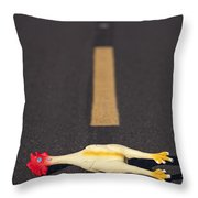 Rubber Chicken On Road Throw Pillow
