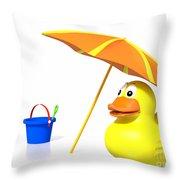 Rubber Duck At The Beach Throw Pillow