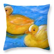 Rubber Ducks In A Tub Throw Pillow