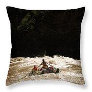 Rubber Raft Running Rapids Throw Pillow
