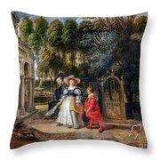 Rubens In His Garden With Helena Fourment Throw Pillow