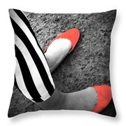 Rubies  And Stripes  Throw Pillow