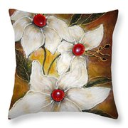 Rubies Throw Pillow by Elena  Constantinescu