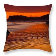 Ruby Beach Afterglow Throw Pillow