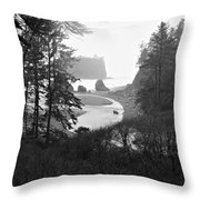 Ruby Beach In The Winter In Black And White Throw Pillow