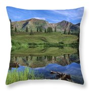 Ruby Peak Reflected In Lake Raggeds Throw Pillow