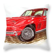 Ruby Red 1966 Corvette Stingray Fastback Throw Pillow