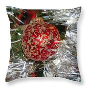 Ruby Red Ornament Throw Pillow