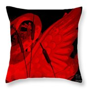 Ruby Red Swan Throw Pillow