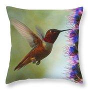 Ruby Throated Hummingbird Digital Art Throw Pillow
