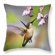 Ruby-throated Hummingbird - Digital Art Throw Pillow