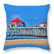 Ruby's Surf City Diner - Huntington Beach Pier Throw Pillow